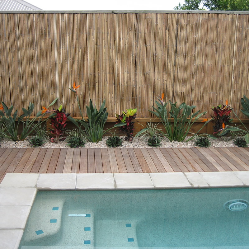 Timber deck surround for pool