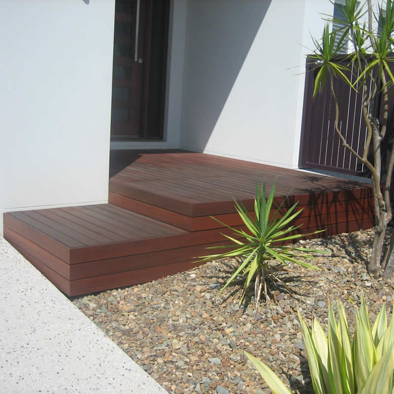 Timber front entrance deck