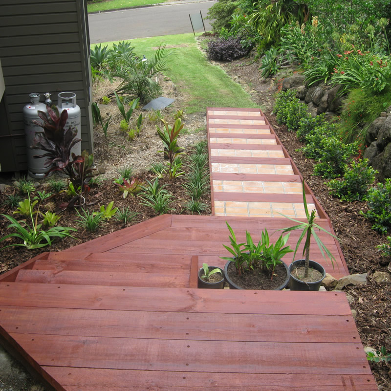Timber outdoor steps